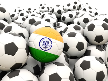 Football with flag of india in front of regular balls photo