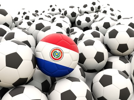 Football with flag of paraguay in front of regular balls photo