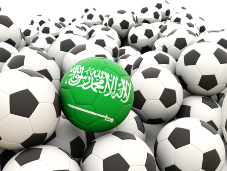 Football with flag of saudi arabia in front of regular balls photo