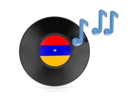Vinyl disk with flag of armenia isolated on white photo