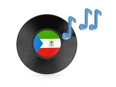 equatorial guinea: Vinyl disk with flag of equatorial guinea isolated on white Stock Photo