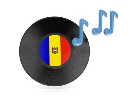 Vinyl disk with flag of moldova isolated on white photo