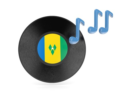 Vinyl disk with flag of saint vincent and the grenadines isolated on white photo