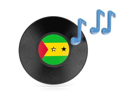 tome: Vinyl disk with flag of sao tome and principe isolated on white