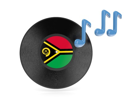 Vinyl disk with flag of vanuatu isolated on white photo