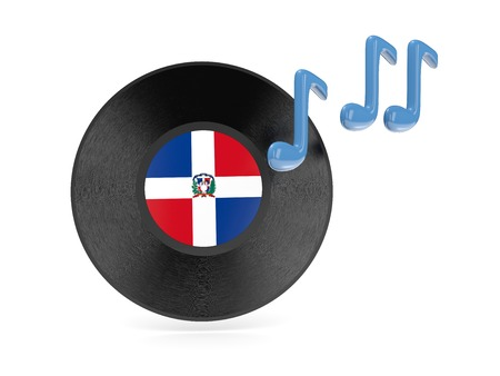 Vinyl disk with flag of dominican republic isolated on white photo