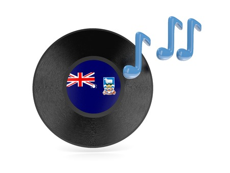falkland: Vinyl disk with flag of falkland islands isolated on white