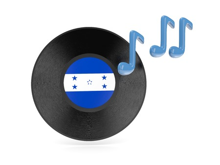 Vinyl disk with flag of honduras isolated on white photo