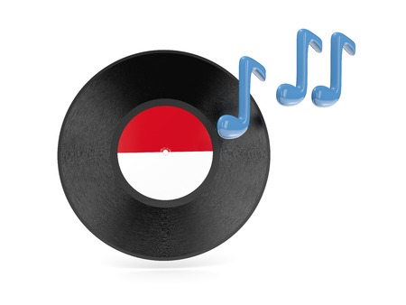 Vinyl disk with flag of indonesia isolated on white photo