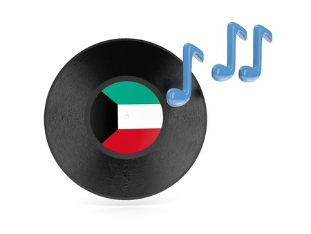 Vinyl disk with flag of kuwait isolated on white photo