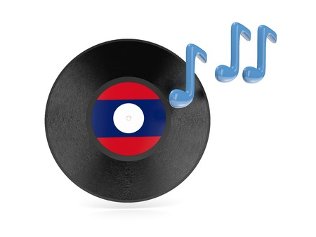 Vinyl disk with flag of laos isolated on white photo