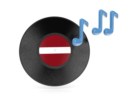 Vinyl disk with flag of latvia isolated on white photo