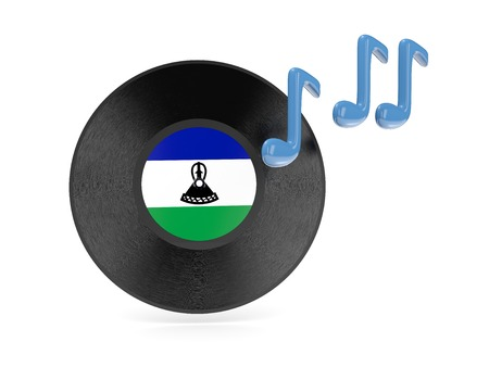 Vinyl disk with flag of lesotho isolated on white photo