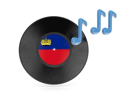 Vinyl disk with flag of liechtenstein isolated on white photo