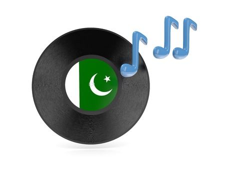 Vinyl disk with flag of pakistan isolated on white photo