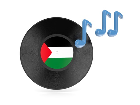 palestinian: Vinyl disk with flag of palestinian territory isolated on white
