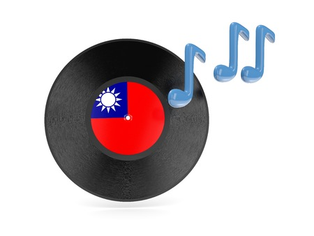 Vinyl disk with flag of republic of china isolated on white photo