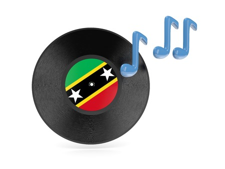Vinyl disk with flag of saint kitts and nevis isolated on white photo