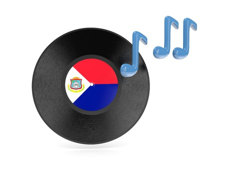sint: Vinyl disk with flag of sint maarten isolated on white Stock Photo