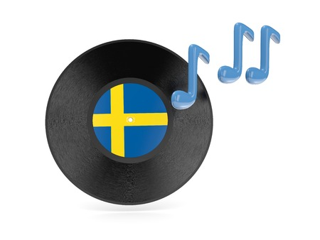 Vinyl disk with flag of sweden isolated on white photo