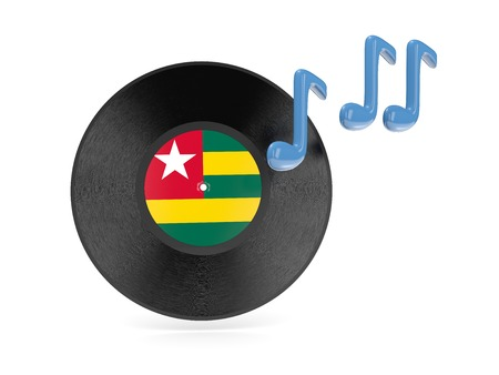Vinyl disk with flag of togo isolated on white photo