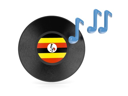 Vinyl disk with flag of uganda isolated on white photo