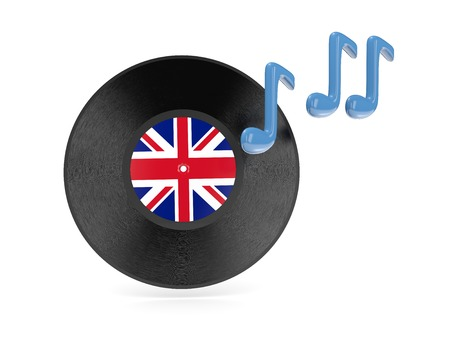 Vinyl disk with flag of united kingdom isolated on white photo