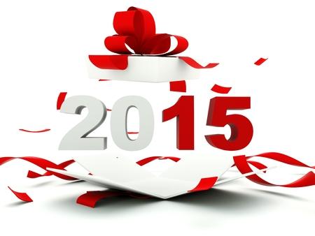 nouvel an: 2015 signe le Nouvel An dans la pr�sente isol� sur blanc