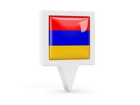 armenia: Square flag icon of armenia isolated on white Stock Photo