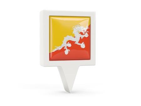 bhutan: Square flag icon of bhutan isolated on white