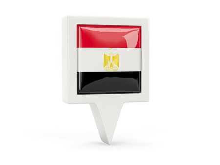 Square flag icon of egypt isolated on white photo