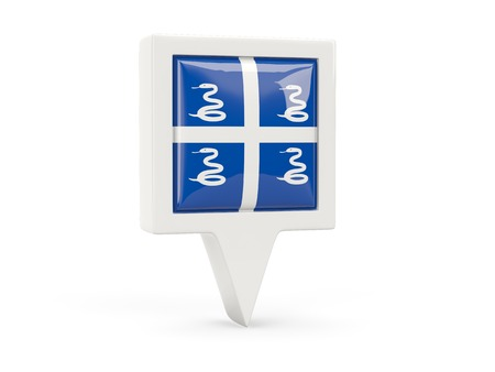 martinique: Square flag icon of martinique isolated on white Stock Photo