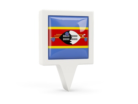 swaziland: Square flag icon of swaziland isolated on white Stock Photo