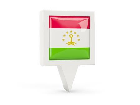 Square flag icon of tajikistan isolated on white photo