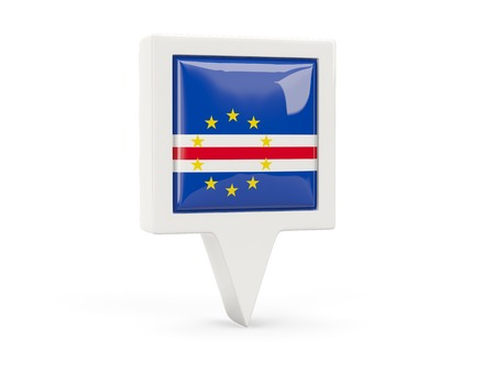 verde: Square flag icon of cape verde isolated on white Stock Photo