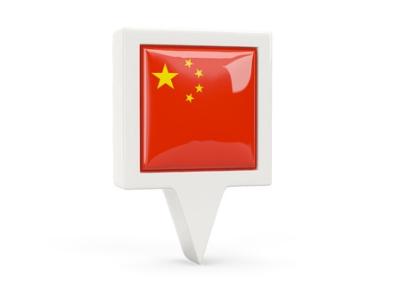 map of china: Square flag icon of china isolated on white