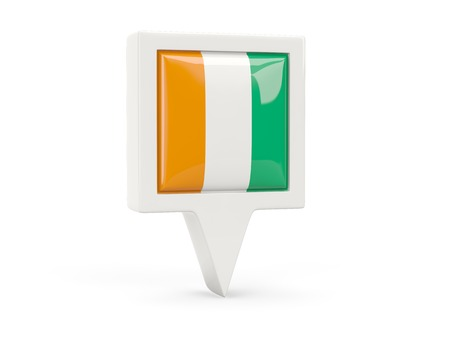 cote d'ivoire: Square flag icon of cote d Ivoire isolated on white Stock Photo