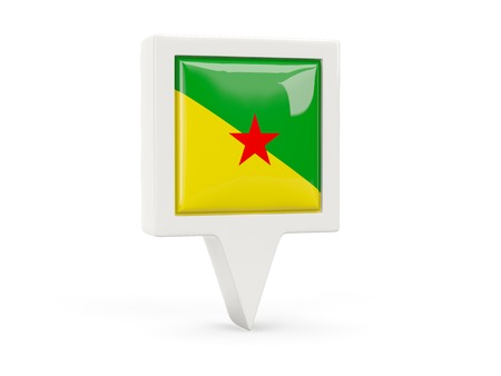 french guiana: Square flag icon of french guiana isolated on white