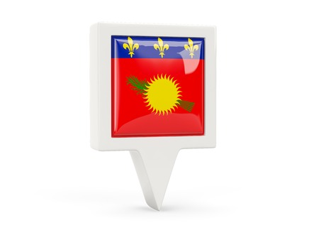 guadeloupe: Square flag icon of guadeloupe isolated on white