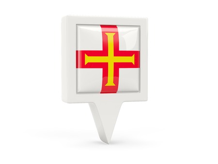 Square flag icon of guernsey isolated on white photo
