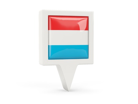 Square flag icon of luxembourg isolated on white photo