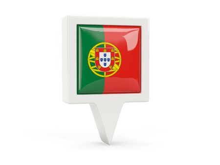 Square flag icon of portugal isolated on white photo