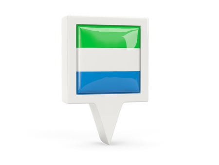 Square flag icon of sierra leone isolated on white photo