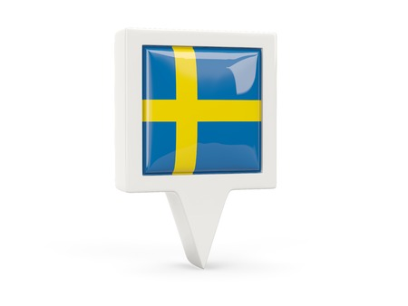 Square flag icon of sweden isolated on white photo