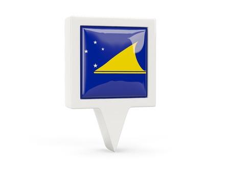 tokelau: Square flag icon of tokelau isolated on white Stock Photo