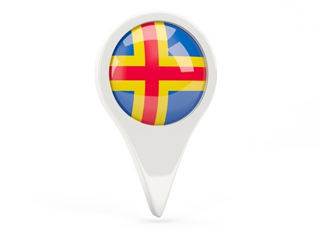 Round flag icon of aland islands isolated on white 免版税图像