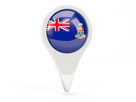 cayman islands: Round flag icon of cayman islands isolated on white Stock Photo