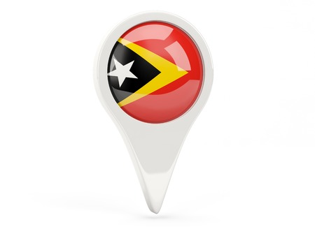 timor: Round flag icon of east timor isolated on white