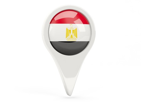 Round flag icon of egypt isolated on white photo