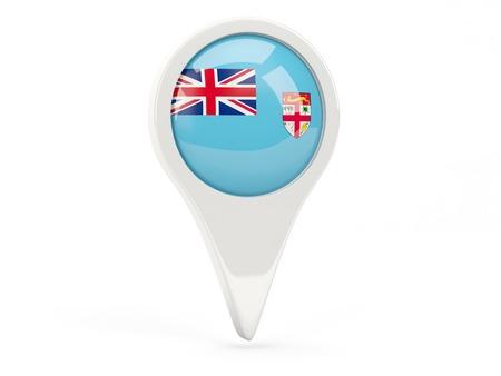 fiji: Round flag icon of fiji isolated on white Stock Photo